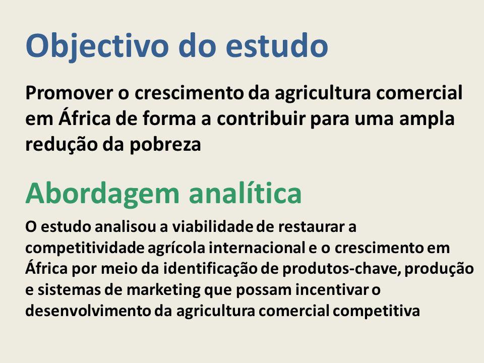 Objectivo do estudo Promover o crescimento da agricultura comercial em África de forma a contribuir para uma ampla redução da pobreza Abordagem analít