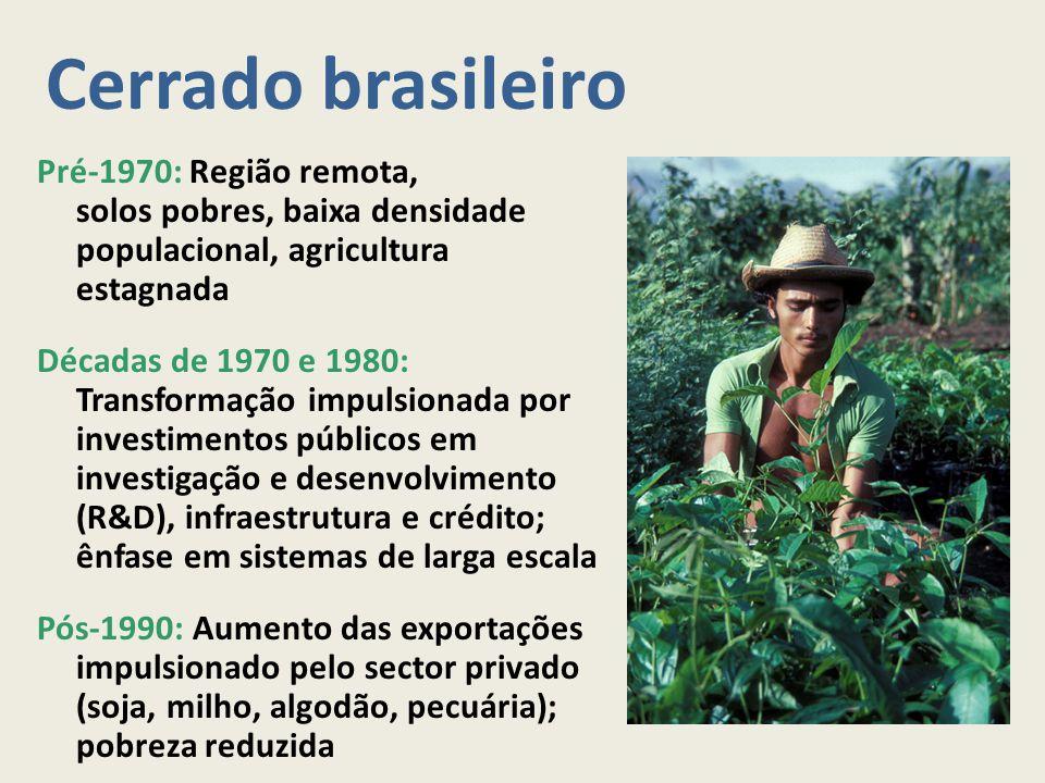 Cerrado brasileiro Pré-1970: Região remota, solos pobres, baixa densidade populacional, agricultura estagnada Décadas de 1970 e 1980: Transformação im