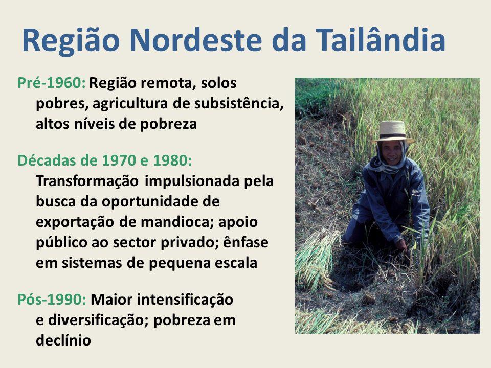 Região Nordeste da Tailândia Pré-1960: Região remota, solos pobres, agricultura de subsistência, altos níveis de pobreza Décadas de 1970 e 1980: Trans