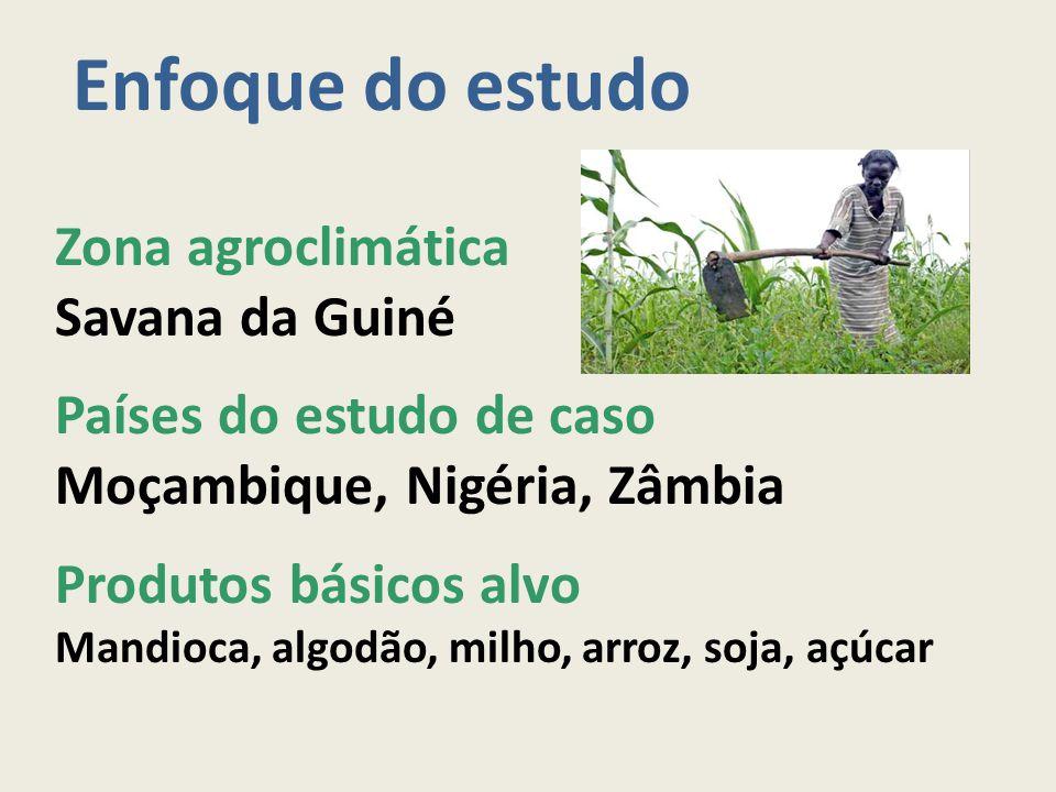 Enfoque do estudo Zona agroclimática Savana da Guiné Países do estudo de caso Moçambique, Nigéria, Zâmbia Produtos básicos alvo Mandioca, algodão, mil