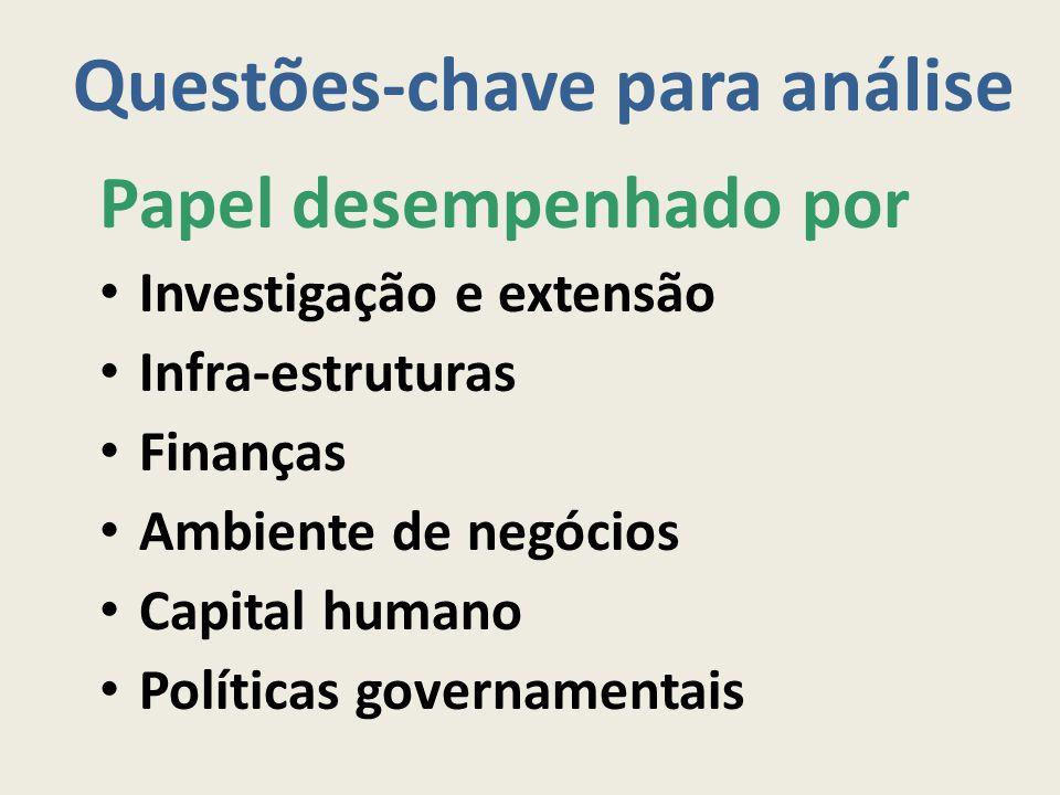 Questões-chave para análise Papel desempenhado por Investigação e extensão Infra-estruturas Finanças Ambiente de negócios Capital humano Políticas gov