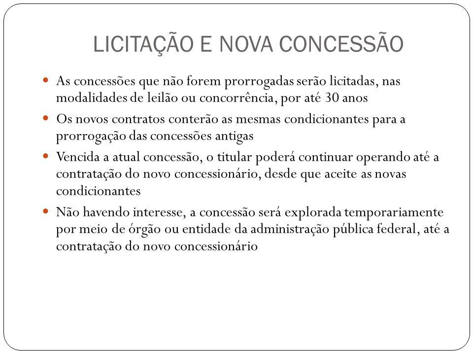 LICITAÇÃO E NOVA CONCESSÃO As concessões que não forem prorrogadas serão licitadas, nas modalidades de leilão ou concorrência, por até 30 anos Os novo