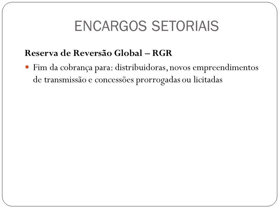 ENCARGOS SETORIAIS Reserva de Reversão Global – RGR Fim da cobrança para: distribuidoras, novos empreendimentos de transmissão e concessões prorrogada