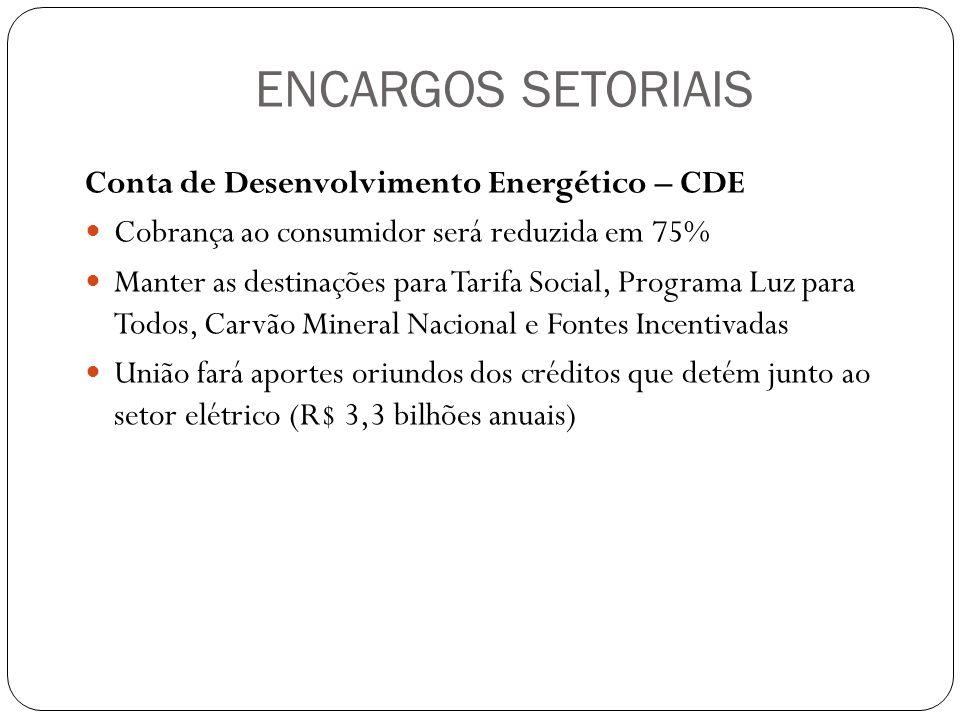 ENCARGOS SETORIAIS Conta de Desenvolvimento Energético – CDE Cobrança ao consumidor será reduzida em 75% Manter as destinações para Tarifa Social, Pro