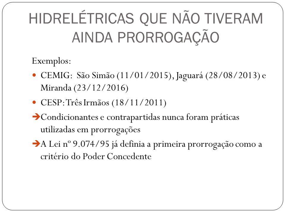 HIDRELÉTRICAS QUE NÃO TIVERAM AINDA PRORROGAÇÃO Exemplos: CEMIG: São Simão (11/01/2015), Jaguará (28/08/2013) e Miranda (23/12/2016) CESP: Três Irmãos