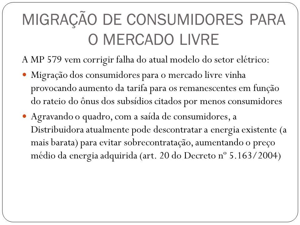 MIGRAÇÃO DE CONSUMIDORES PARA O MERCADO LIVRE A MP 579 vem corrigir falha do atual modelo do setor elétrico: Migração dos consumidores para o mercado