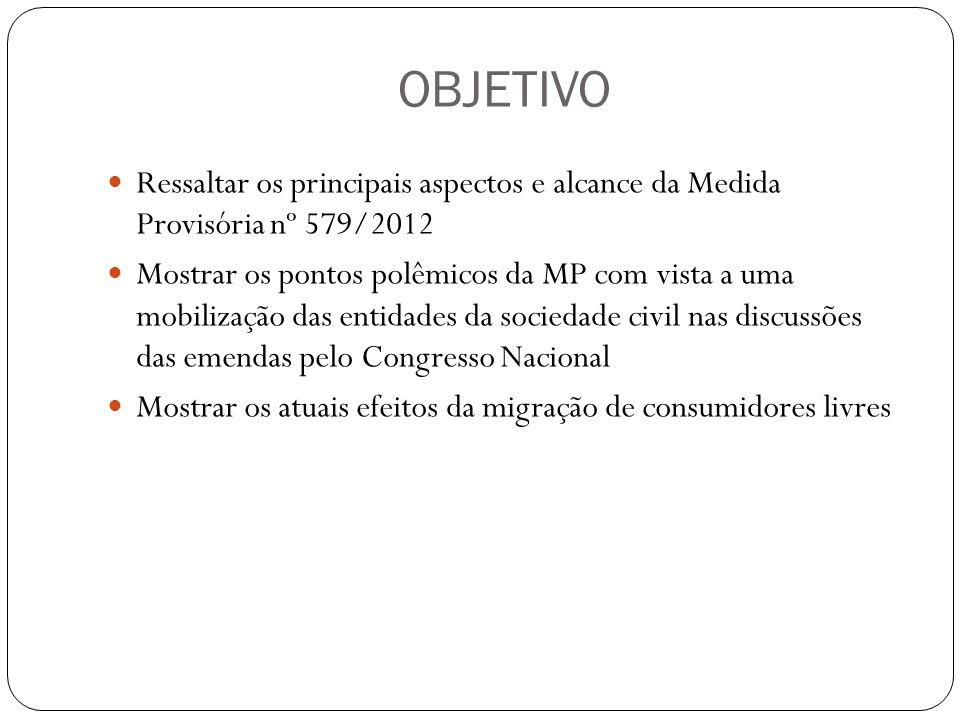 OBJETIVO Ressaltar os principais aspectos e alcance da Medida Provisória nº 579/2012 Mostrar os pontos polêmicos da MP com vista a uma mobilização das