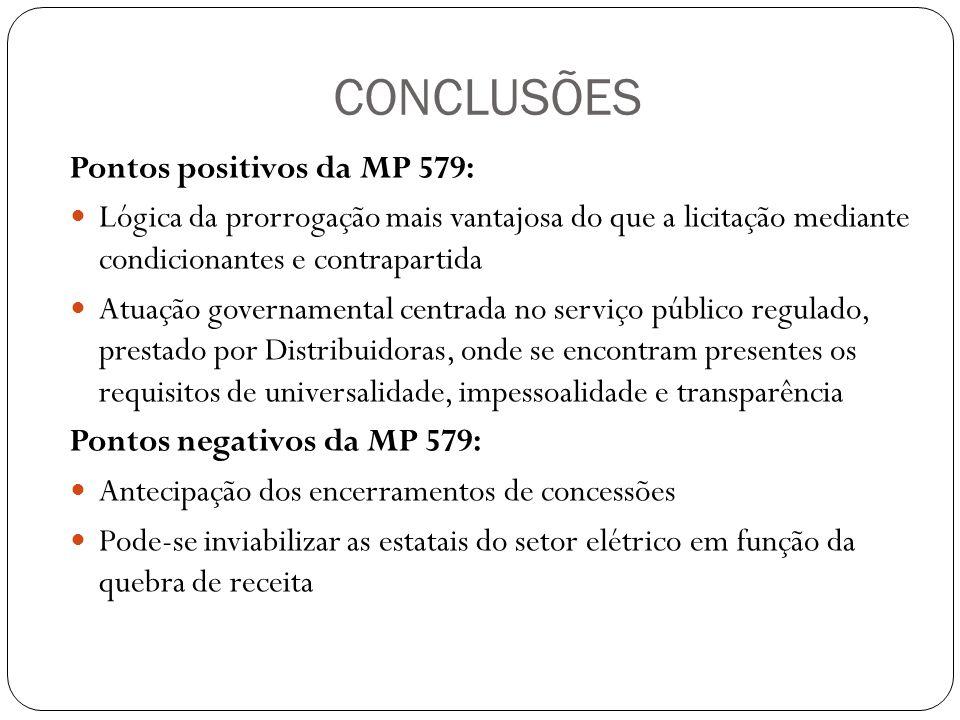 CONCLUSÕES Pontos positivos da MP 579: Lógica da prorrogação mais vantajosa do que a licitação mediante condicionantes e contrapartida Atuação governa
