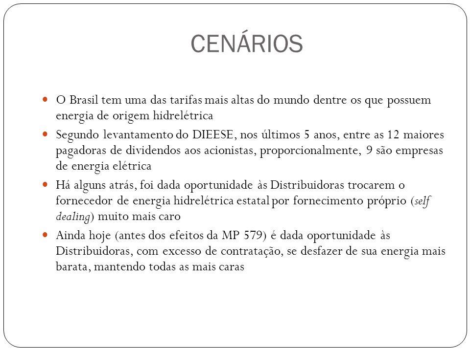 CENÁRIOS O Brasil tem uma das tarifas mais altas do mundo dentre os que possuem energia de origem hidrelétrica Segundo levantamento do DIEESE, nos últ