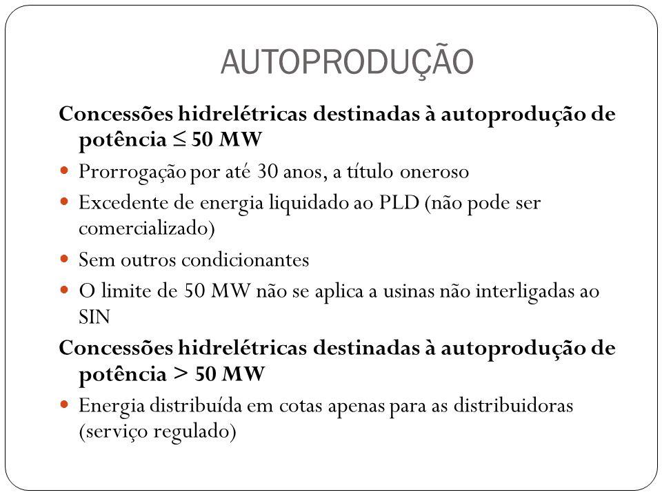 AUTOPRODUÇÃO Concessões hidrelétricas destinadas à autoprodução de potência 50 MW Prorrogação por até 30 anos, a título oneroso Excedente de energia l