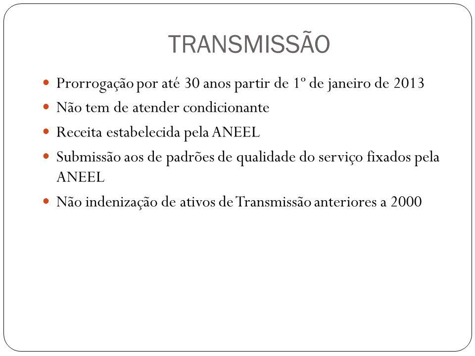 TRANSMISSÃO Prorrogação por até 30 anos partir de 1º de janeiro de 2013 Não tem de atender condicionante Receita estabelecida pela ANEEL Submissão aos