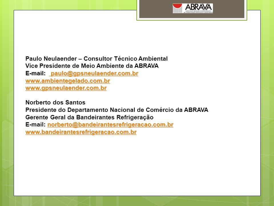 Paulo Neulaender – Consultor Técnico Ambiental Vice Presidente de Meio Ambiente da ABRAVA E-mail: paulo@gpsneulaender.com.br paulo@gpsneulaender.com.b
