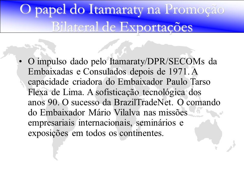 O impulso dado pelo Itamaraty/DPR/SECOMs da Embaixadas e Consulados depois de 1971. A capacidade criadora do Embaixador Paulo Tarso Flexa de Lima. A s