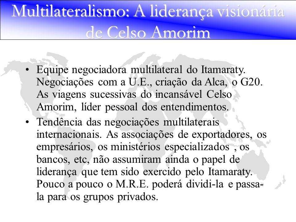 Multilateralismo: A liderança visionária de Celso Amorim Equipe negociadora multilateral do Itamaraty. Negociações com a U.E., criação da Alca, o G20.