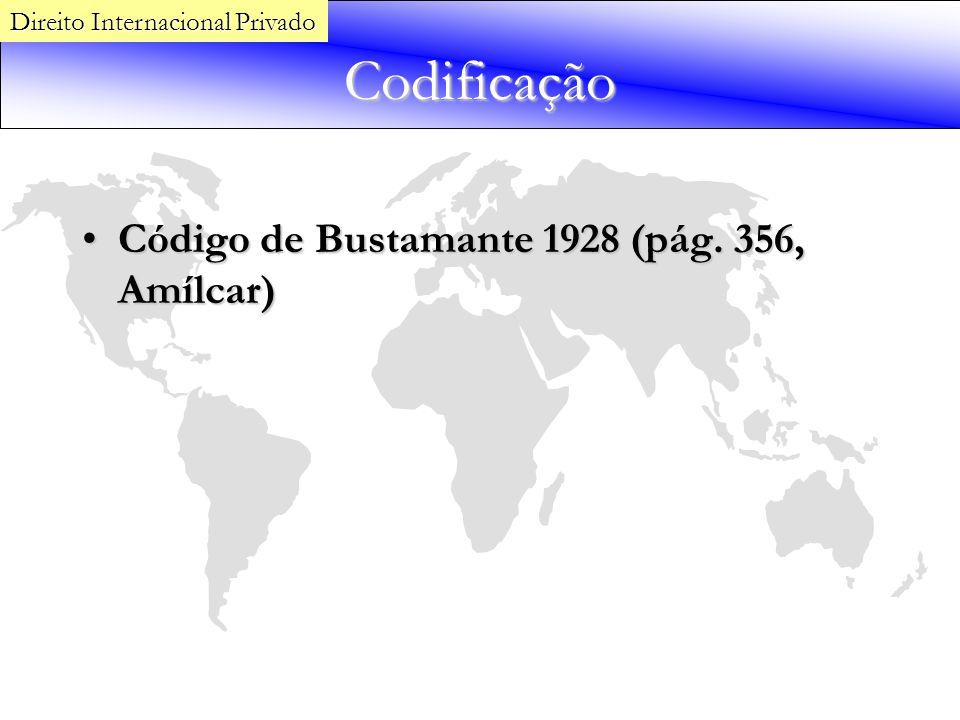 Codificação Código de Bustamante 1928 (pág. 356, Amílcar)Código de Bustamante 1928 (pág. 356, Amílcar) Direito Internacional Privado