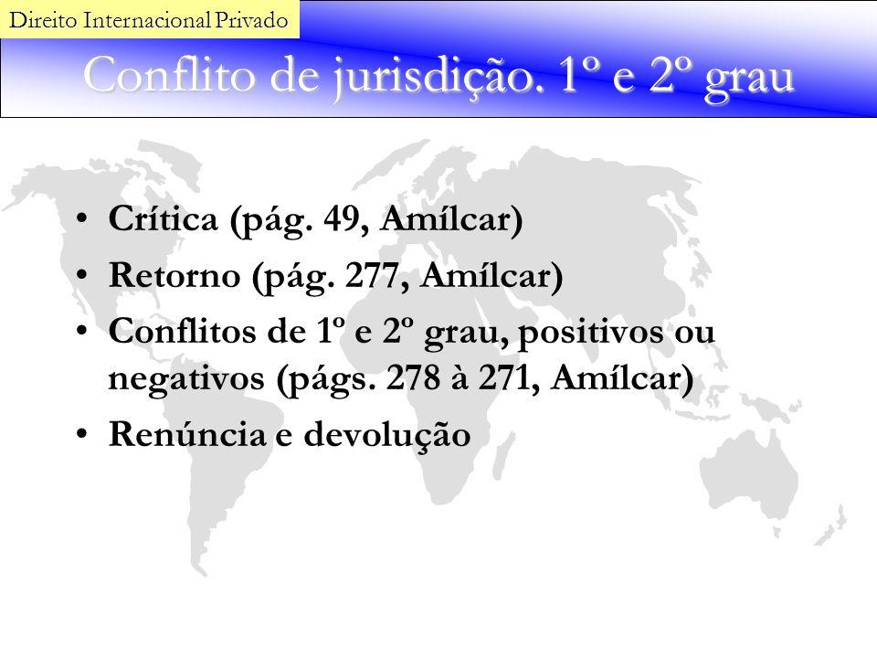 Conflito de jurisdição. 1º e 2º grau Crítica (pág. 49, Amílcar) Retorno (pág. 277, Amílcar) Conflitos de 1º e 2º grau, positivos ou negativos (págs. 2