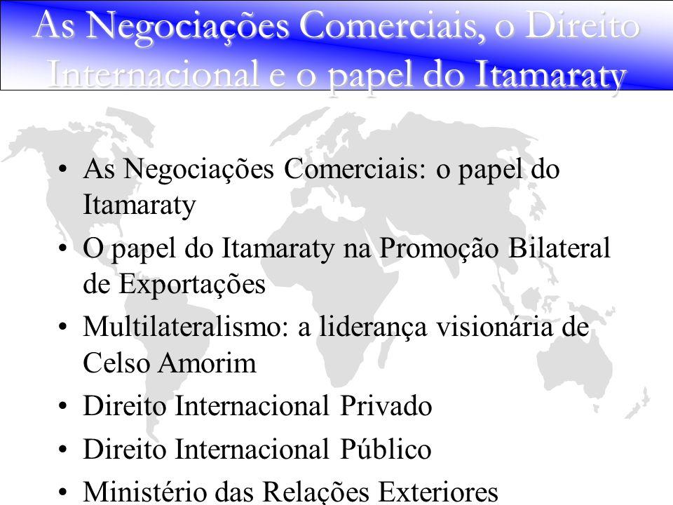 As Negociações Comerciais, o Direito Internacional e o papel do Itamaraty As Negociações Comerciais: o papel do Itamaraty O papel do Itamaraty na Prom