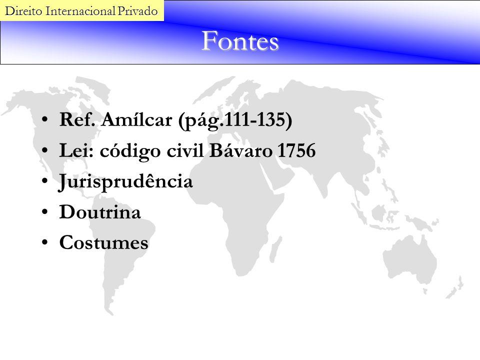 Fontes Ref. Amílcar (pág.111-135) Lei: código civil Bávaro 1756 Jurisprudência Doutrina Costumes Direito Internacional Privado