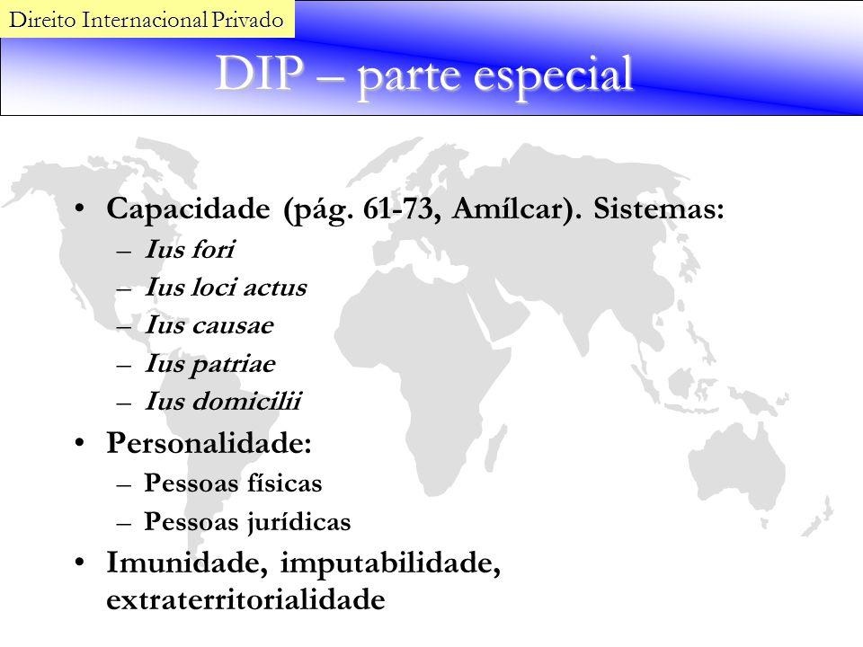 DIP – parte especial Capacidade (pág. 61-73, Amílcar). Sistemas: –Ius fori –Ius loci actus –Ius causae –Ius patriae –Ius domicilii Personalidade: –Pes