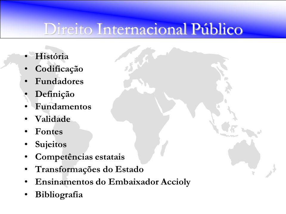 Direito Internacional Público História Codificação Fundadores Definição Fundamentos Validade Fontes Sujeitos Competências estatais Transformações do E