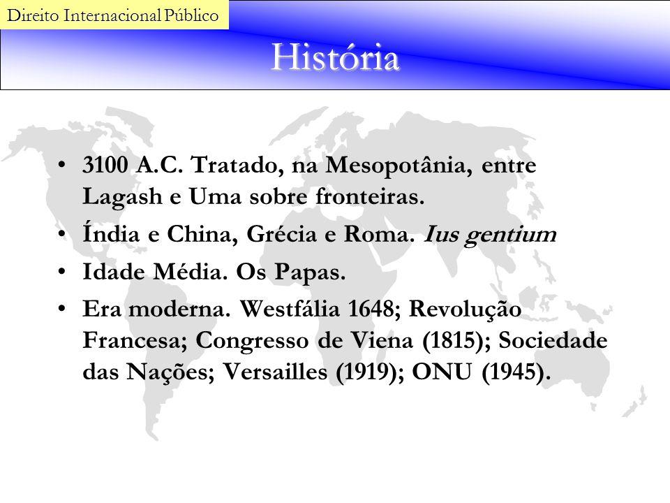 História 3100 A.C. Tratado, na Mesopotânia, entre Lagash e Uma sobre fronteiras. Índia e China, Grécia e Roma. Ius gentium Idade Média. Os Papas. Era