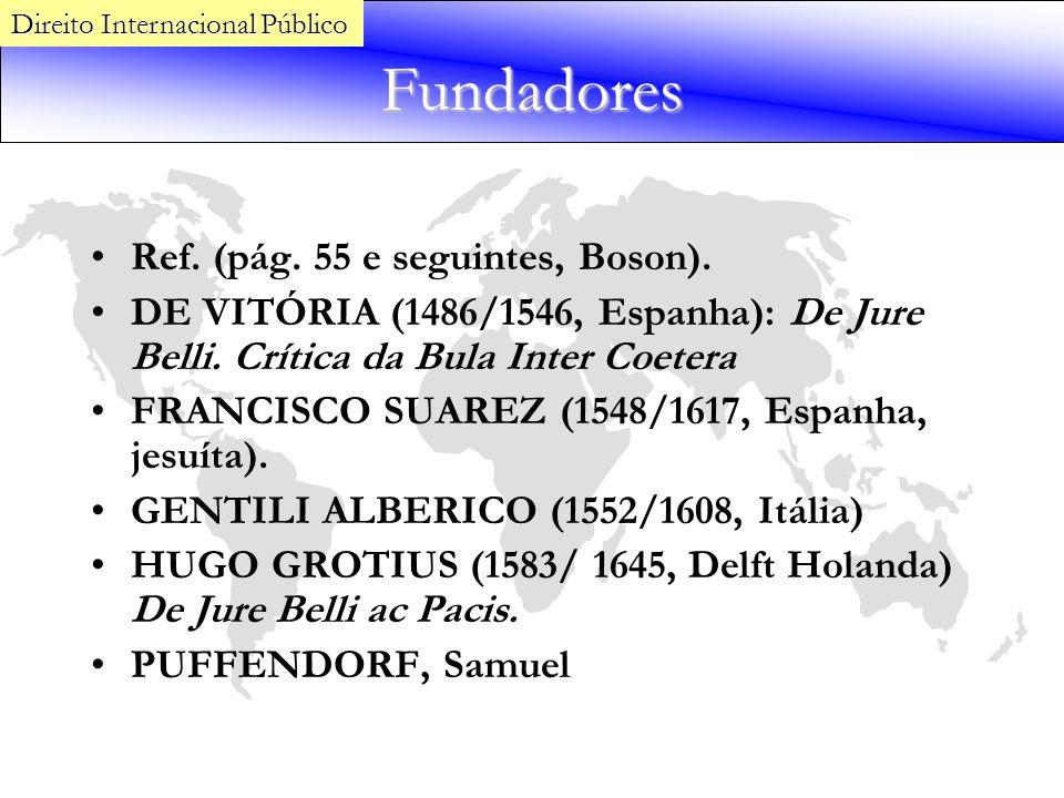 Fundadores Ref. (pág. 55 e seguintes, Boson). DE VITÓRIA (1486/1546, Espanha): De Jure Belli. Crítica da Bula Inter Coetera FRANCISCO SUAREZ (1548/161