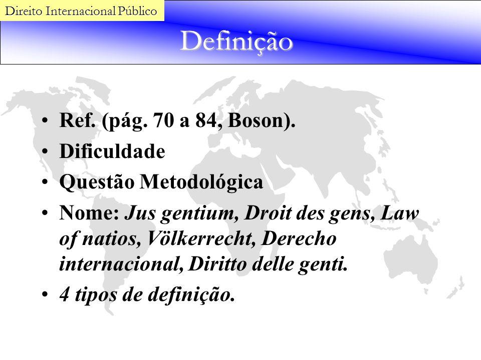 Definição Ref. (pág. 70 a 84, Boson). Dificuldade Questão Metodológica Nome: Jus gentium, Droit des gens, Law of natios, Völkerrecht, Derecho internac