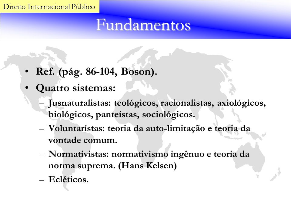 Fundamentos Ref. (pág. 86-104, Boson). Quatro sistemas: –Jusnaturalistas: teológicos, racionalistas, axiológicos, biológicos, panteístas, sociológicos
