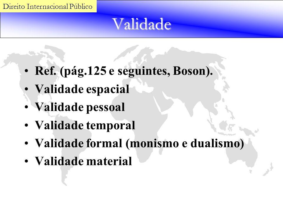 Validade Ref. (pág.125 e seguintes, Boson). Validade espacial Validade pessoal Validade temporal Validade formal (monismo e dualismo) Validade materia