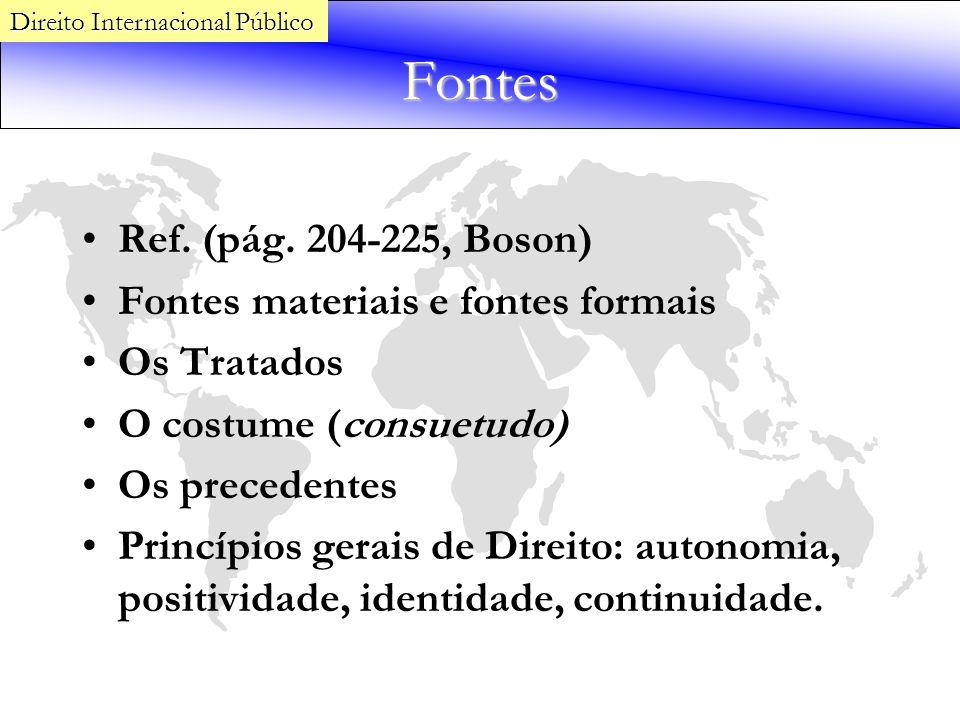 Fontes Ref. (pág. 204-225, Boson) Fontes materiais e fontes formais Os Tratados O costume (consuetudo) Os precedentes Princípios gerais de Direito: au