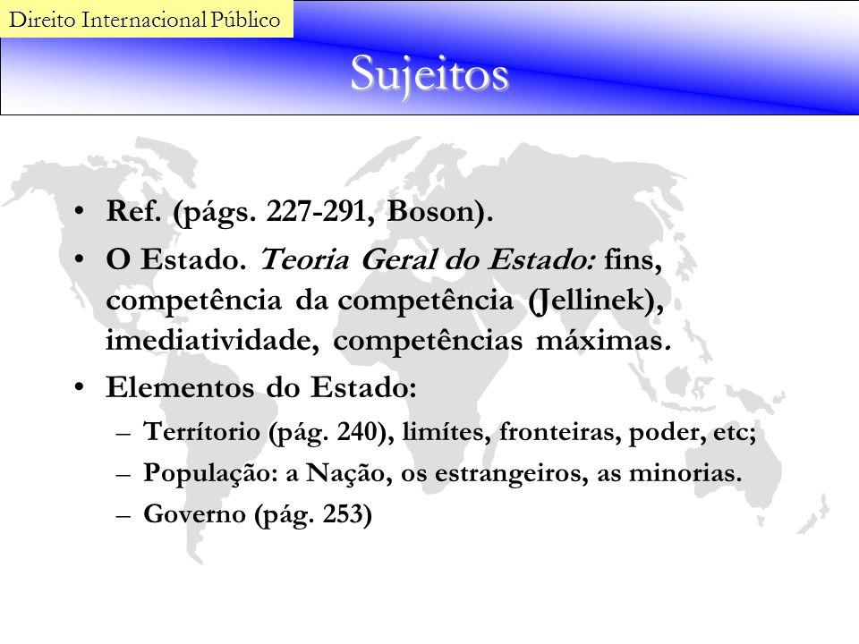 Sujeitos Ref. (págs. 227-291, Boson). O Estado. Teoria Geral do Estado: fins, competência da competência (Jellinek), imediatividade, competências máxi