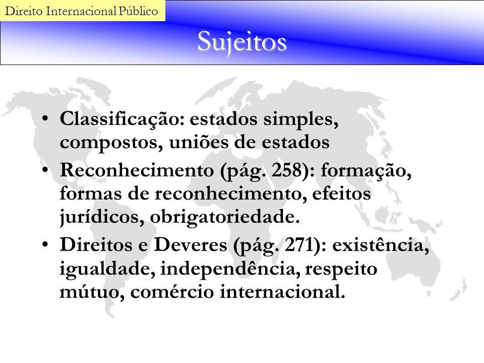 Sujeitos Classificação: estados simples, compostos, uniões de estados Reconhecimento (pág. 258): formação, formas de reconhecimento, efeitos jurídicos