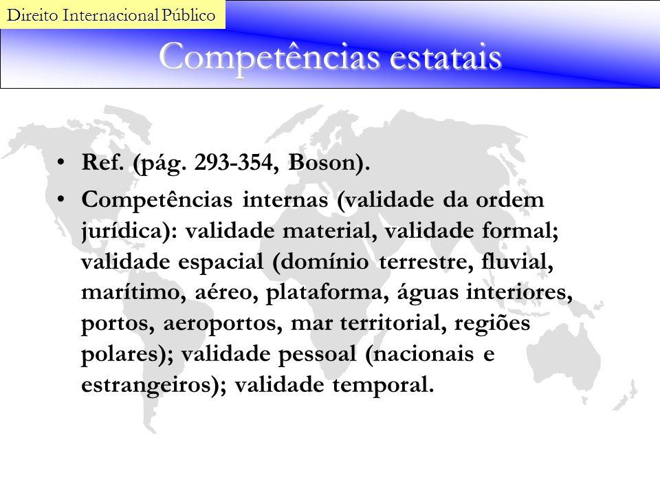 Competências estatais Ref. (pág. 293-354, Boson). Competências internas (validade da ordem jurídica): validade material, validade formal; validade esp