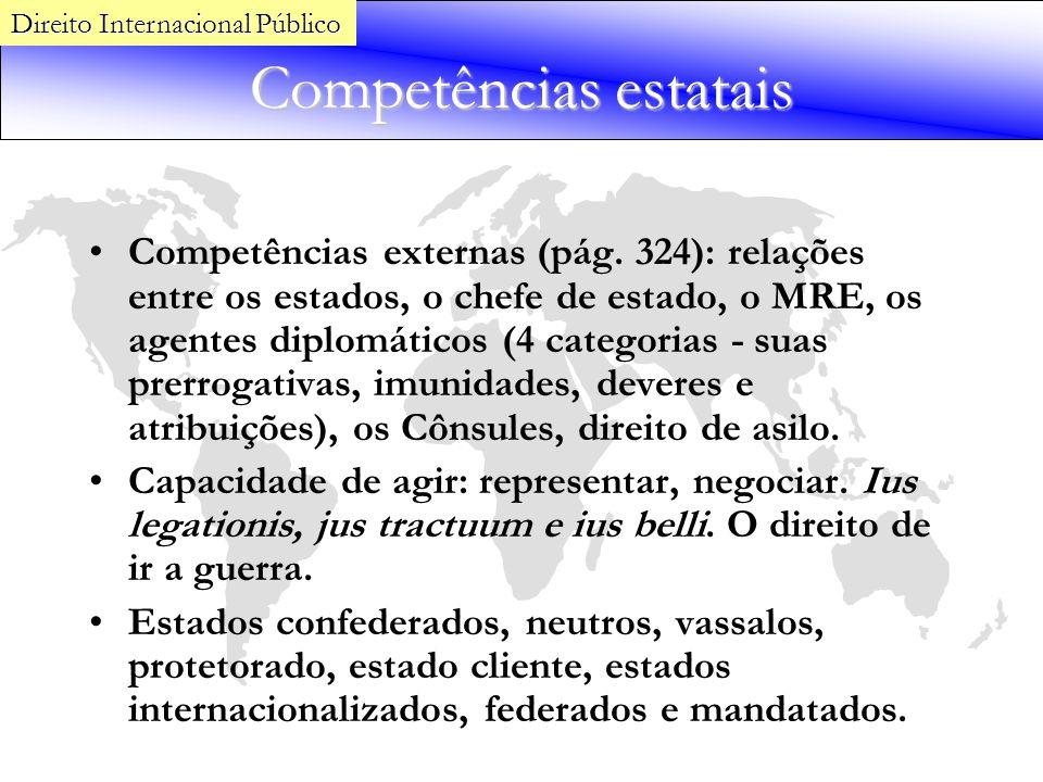 Competências estatais Competências externas (pág. 324): relações entre os estados, o chefe de estado, o MRE, os agentes diplomáticos (4 categorias - s