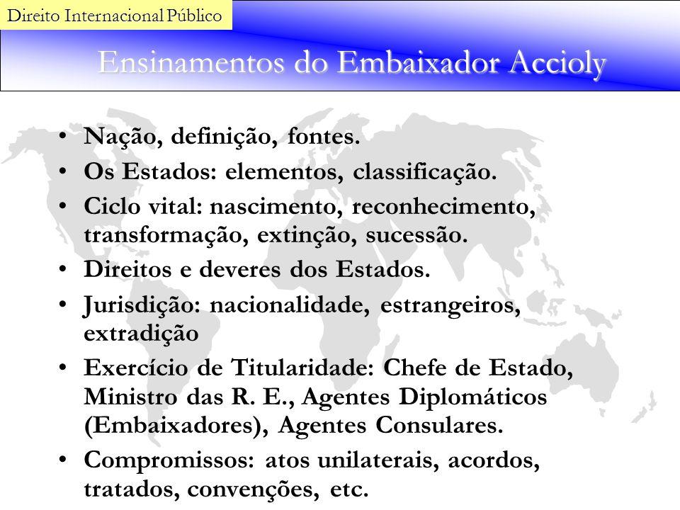 Ensinamentos do Embaixador Accioly Nação, definição, fontes. Os Estados: elementos, classificação. Ciclo vital: nascimento, reconhecimento, transforma