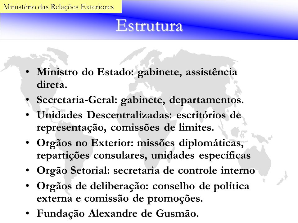 Estrutura Ministro do Estado: gabinete, assistência direta. Secretaria-Geral: gabinete, departamentos. Unidades Descentralizadas: escritórios de repre
