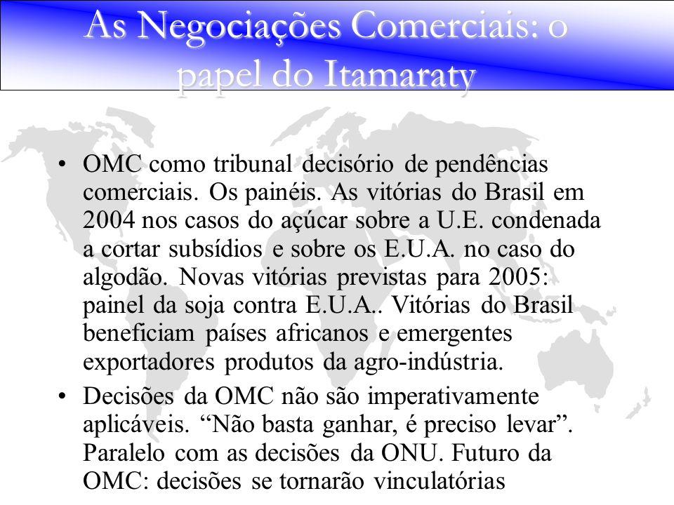 OMC como tribunal decisório de pendências comerciais. Os painéis. As vitórias do Brasil em 2004 nos casos do açúcar sobre a U.E. condenada a cortar su