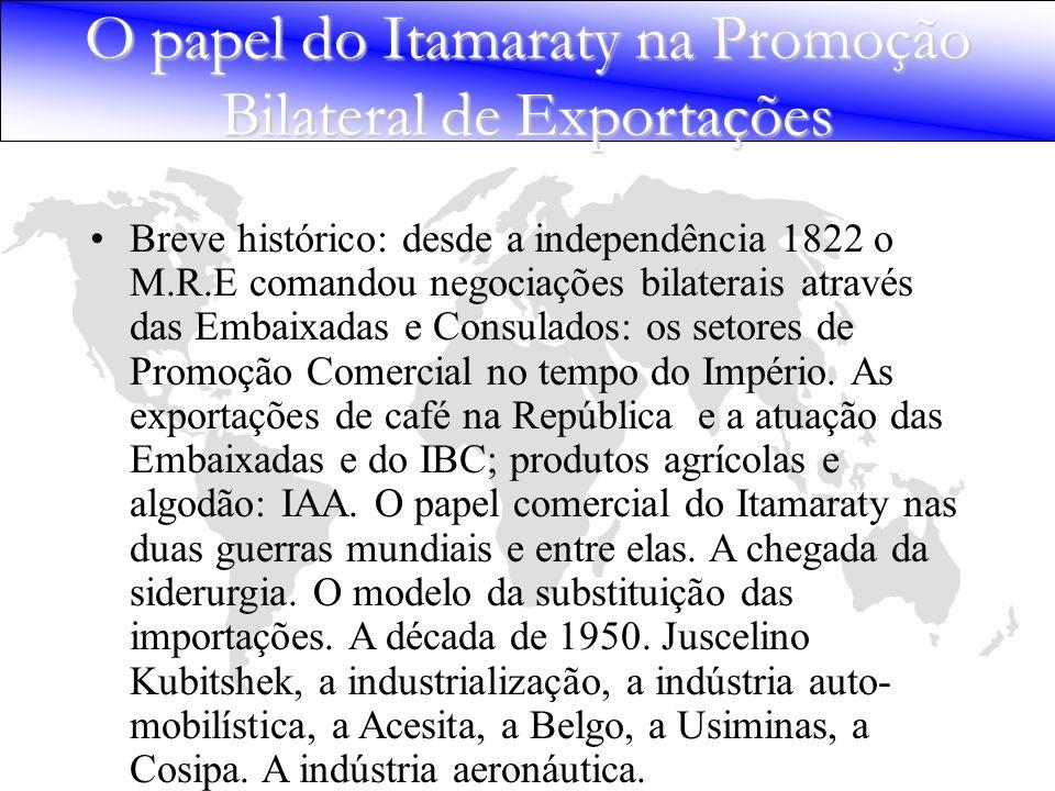 Breve histórico: desde a independência 1822 o M.R.E comandou negociações bilaterais através das Embaixadas e Consulados: os setores de Promoção Comerc