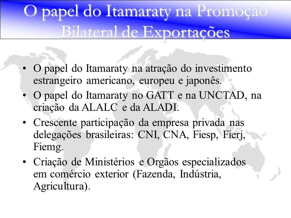 O papel do Itamaraty na atração do investimento estrangeiro americano, europeu e japonês. O papel do Itamaraty no GATT e na UNCTAD, na criação da ALAL
