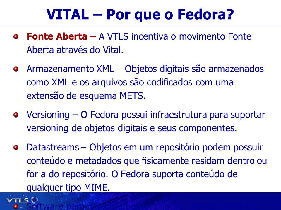 Visionary Technology in Library Solutions VITAL – Por que o Fedora? Fonte Aberta – A VTLS incentiva o movimento Fonte Aberta através do Vital. Armazen