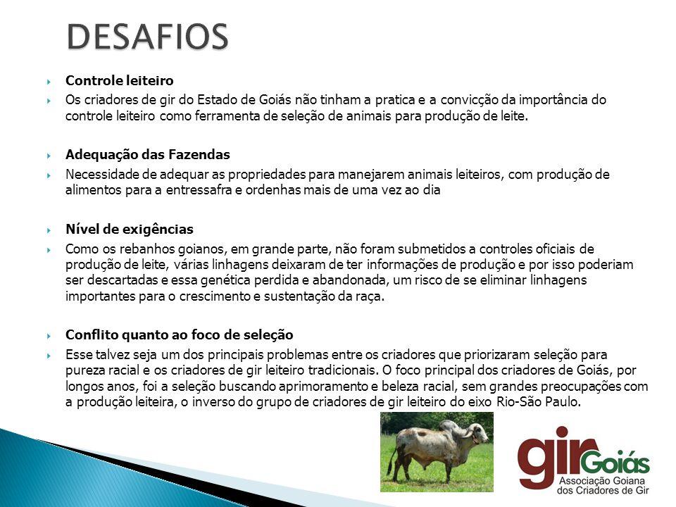 Controle leiteiro Os criadores de gir do Estado de Goiás não tinham a pratica e a convicção da importância do controle leiteiro como ferramenta de sel