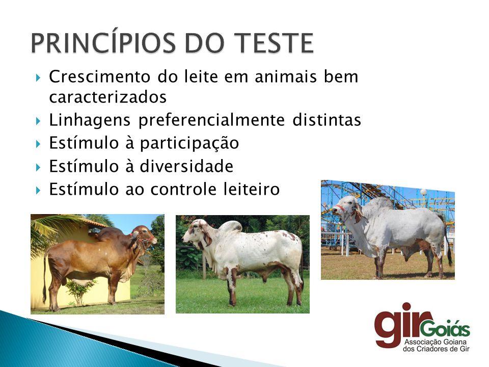 Crescimento do leite em animais bem caracterizados Linhagens preferencialmente distintas Estímulo à participação Estímulo à diversidade Estímulo ao co