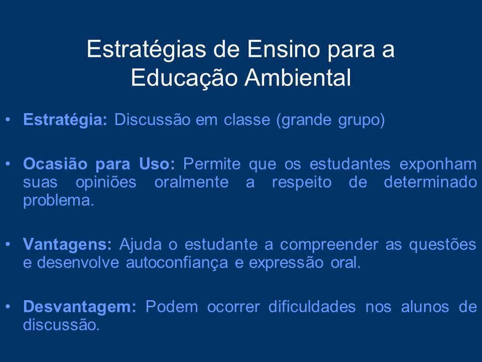 Estratégias de Ensino para a Educação Ambiental Estratégia: Discussão em classe (grande grupo) Ocasião para Uso: Permite que os estudantes exponham su