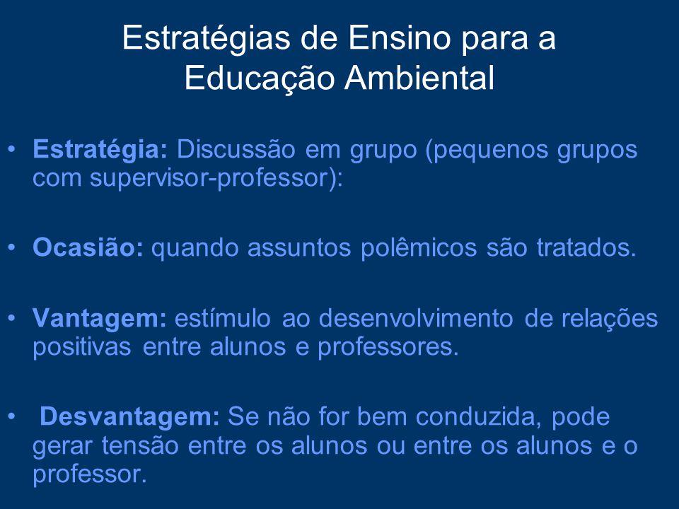 Estratégias de Ensino para a Educação Ambiental Estratégia: Discussão em grupo (pequenos grupos com supervisor-professor): Ocasião: quando assuntos po