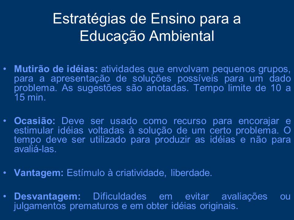 Estratégias de Ensino para a Educação Ambiental Mutirão de idéias: atividades que envolvam pequenos grupos, para a apresentação de soluções possíveis