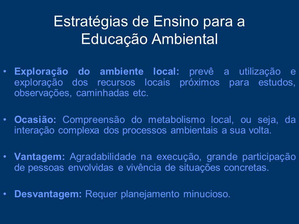 Estratégias de Ensino para a Educação Ambiental Exploração do ambiente local: prevê a utilização e exploração dos recursos locais próximos para estudo