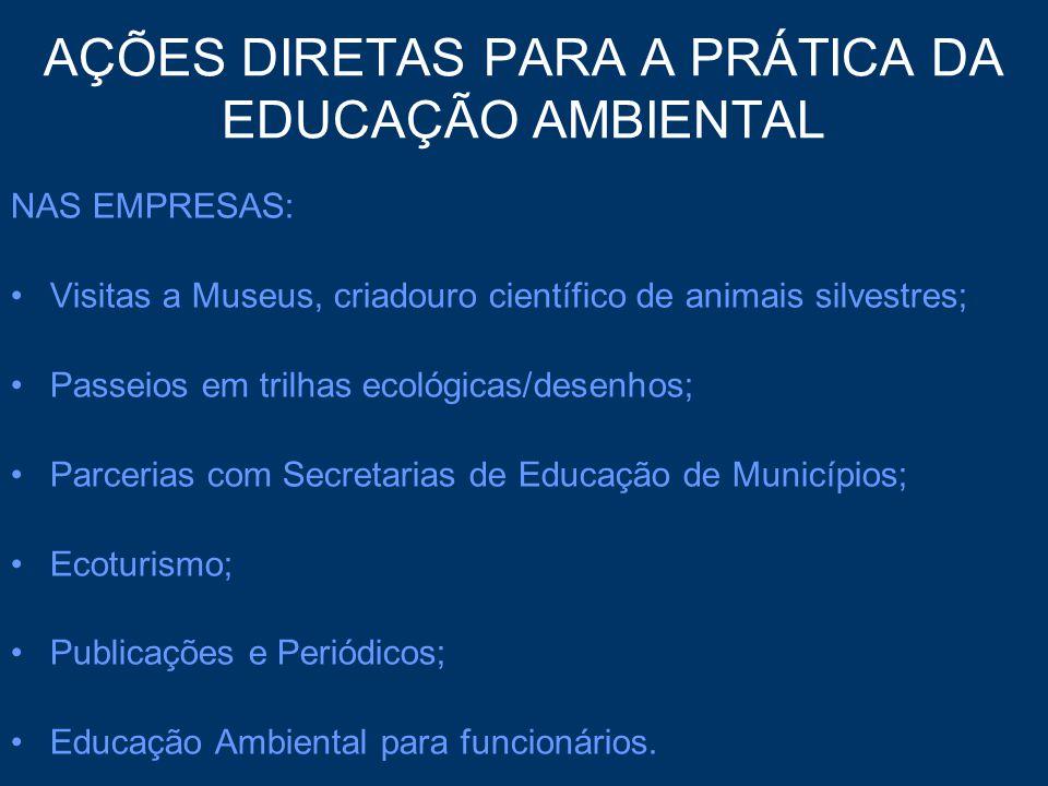 AÇÕES DIRETAS PARA A PRÁTICA DA EDUCAÇÃO AMBIENTAL NAS EMPRESAS: Visitas a Museus, criadouro científico de animais silvestres; Passeios em trilhas eco