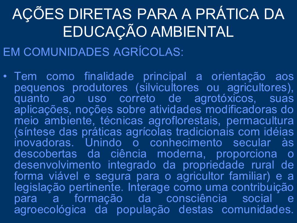 AÇÕES DIRETAS PARA A PRÁTICA DA EDUCAÇÃO AMBIENTAL EM COMUNIDADES AGRÍCOLAS: Tem como finalidade principal a orientação aos pequenos produtores (silvi