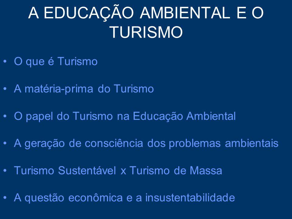 A EDUCAÇÃO AMBIENTAL E O TURISMO O que é Turismo A matéria-prima do Turismo O papel do Turismo na Educação Ambiental A geração de consciência dos prob