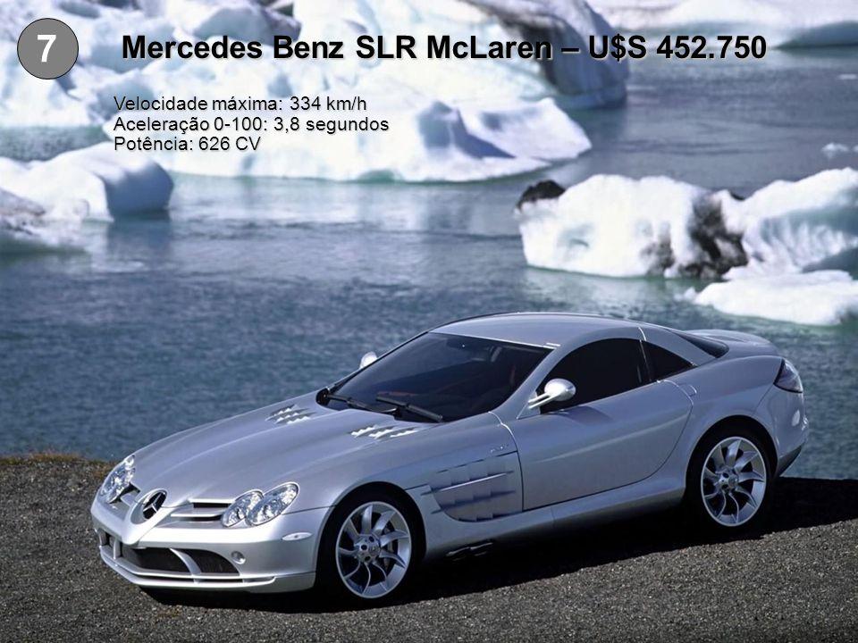 6 Koenigsegg CCR – U$S 545.568 Velocidade máxima: 388 km/h Aceleração 0-100: 3,2 segundos Potência: 806 CV